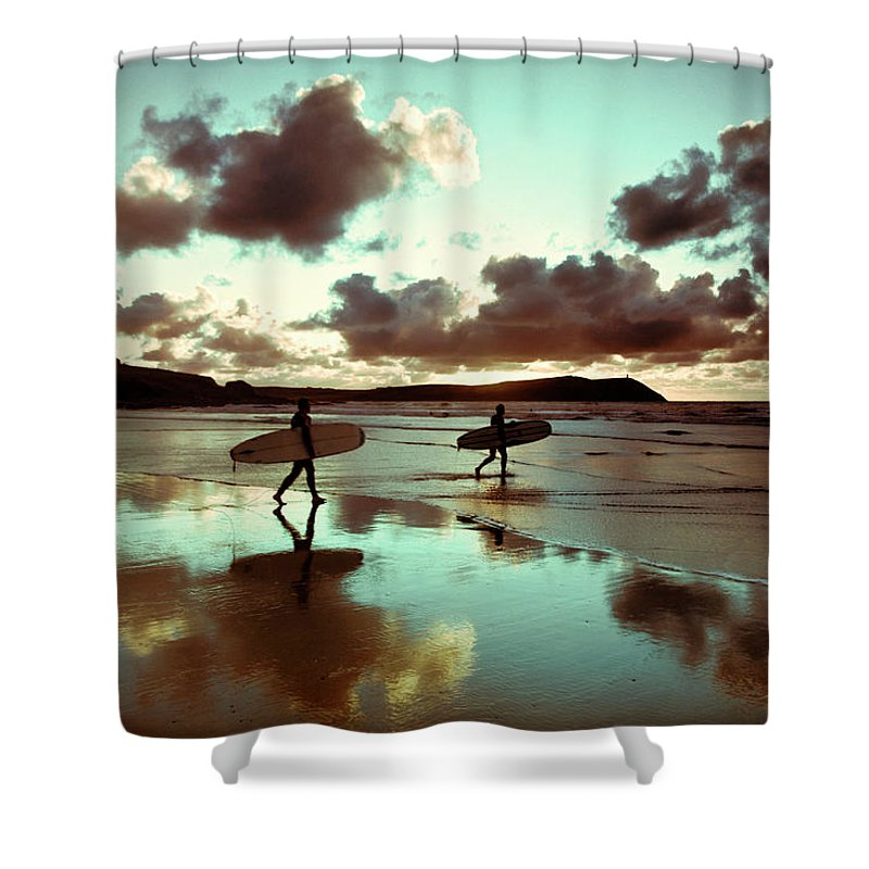 Water's Edge Shower Curtain featuring the photograph Old Skool Surf by Landscapes, Seascapes, Jewellery & Action Photographer