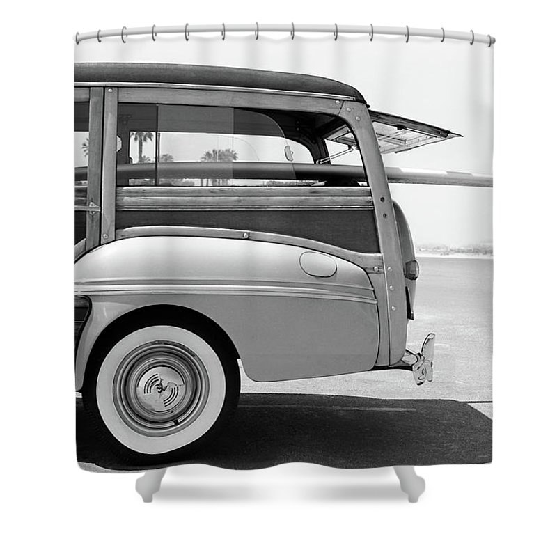1950-1959 Shower Curtain featuring the photograph Old Woodie Station Wagon With Surfboard by Skodonnell