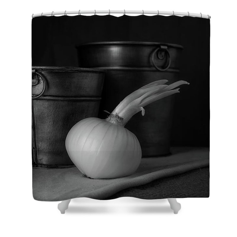 Onion Shower Curtain featuring the photograph Onion In Black And White by Tom Mc Nemar