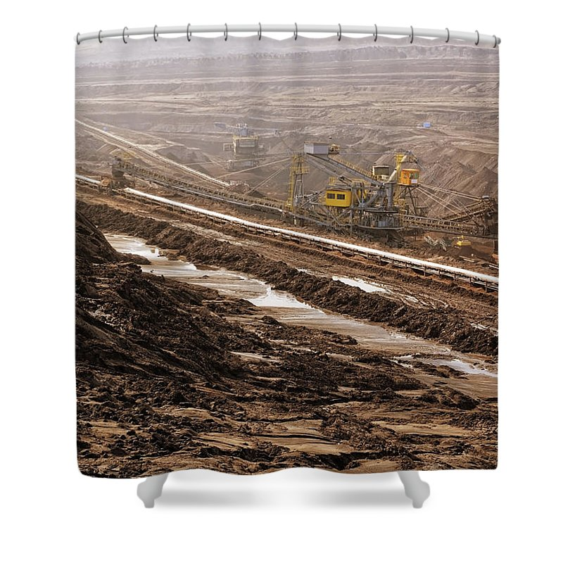 Air Pollution Shower Curtain featuring the photograph Open Strip Coal Mine by Hsvrs
