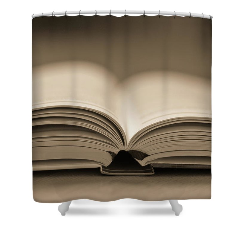 Education Shower Curtain featuring the photograph Open Text Book by Simon Vogt