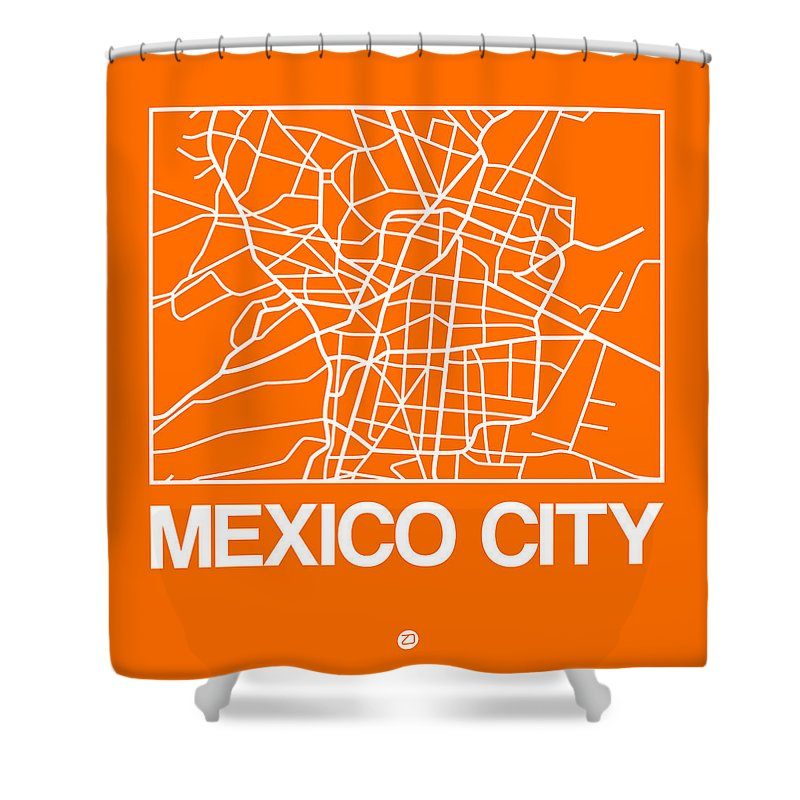 Mexico City Shower Curtain featuring the digital art Orange Map Of Mexico City by Naxart Studio