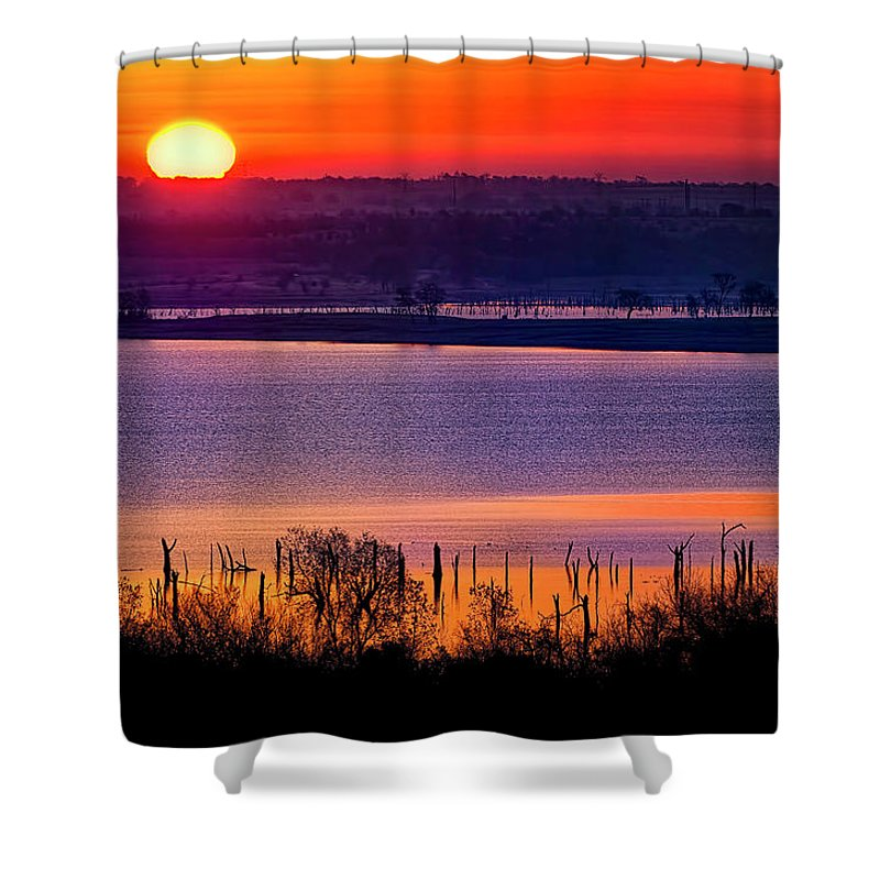 Scenics Shower Curtain featuring the photograph Orange Sunrise On Benbrook Lake by Dean Fikar