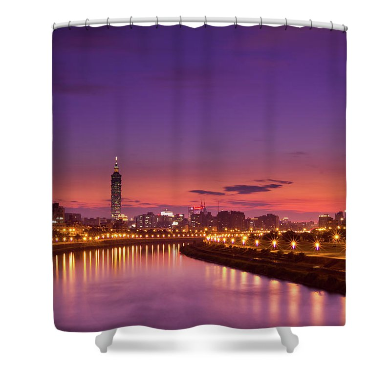 Orange Color Shower Curtain featuring the photograph Orange Sunset by © Copyright 2011 Sharleen Chao