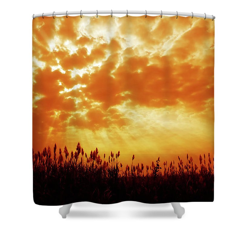 Orange Color Shower Curtain featuring the photograph Orange Tinted Sky Illustrating by Tommyix