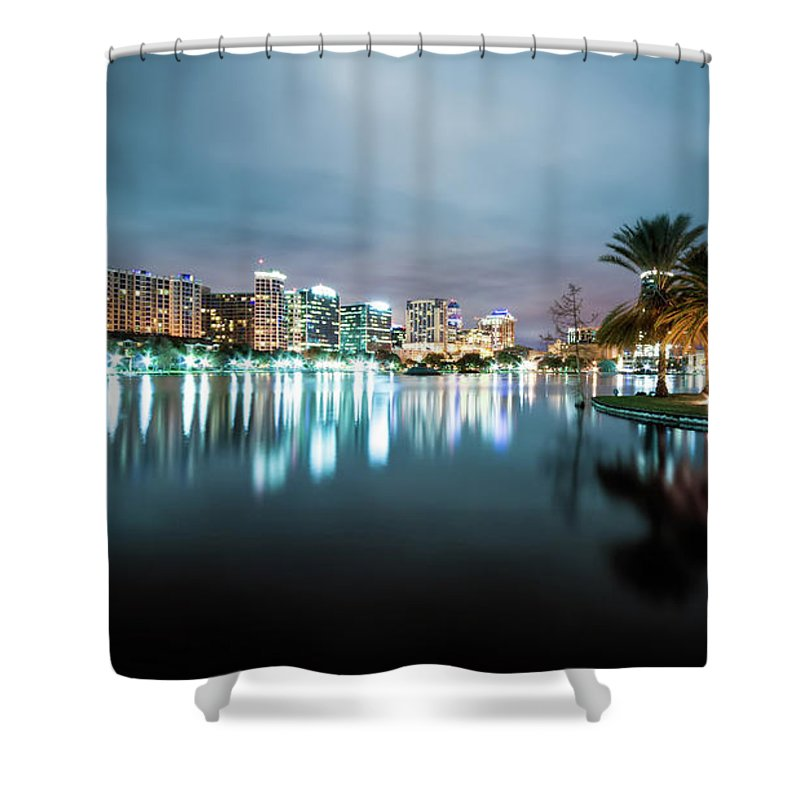 Outdoors Shower Curtain featuring the photograph Orlando Night Cityscape by Sky Noir Photography By Bill Dickinson