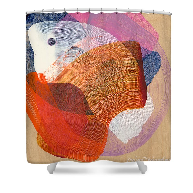 Abstract Shower Curtain featuring the painting Out Of The Blue 01 by Claire Desjardins