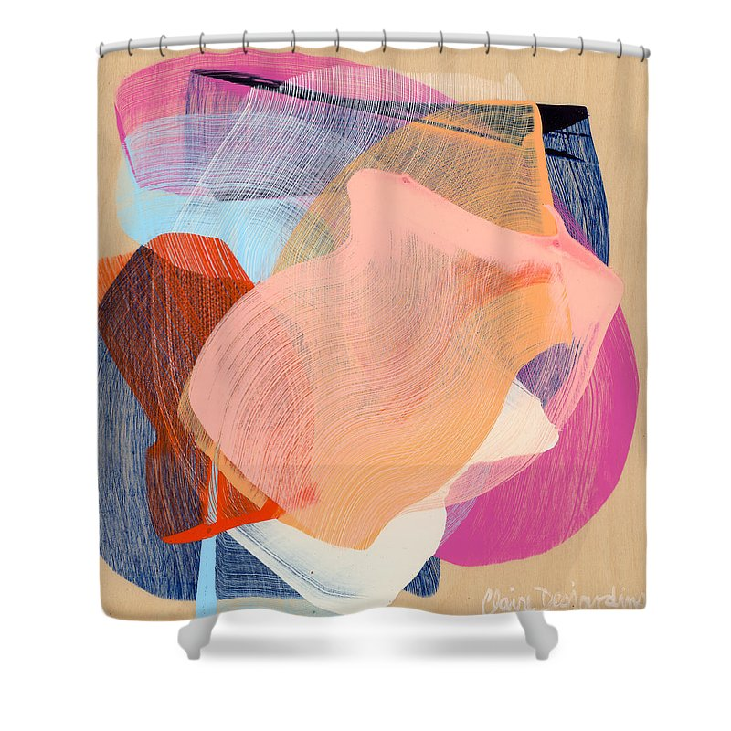 Abstract Shower Curtain featuring the painting Out Of The Blue 03 by Claire Desjardins