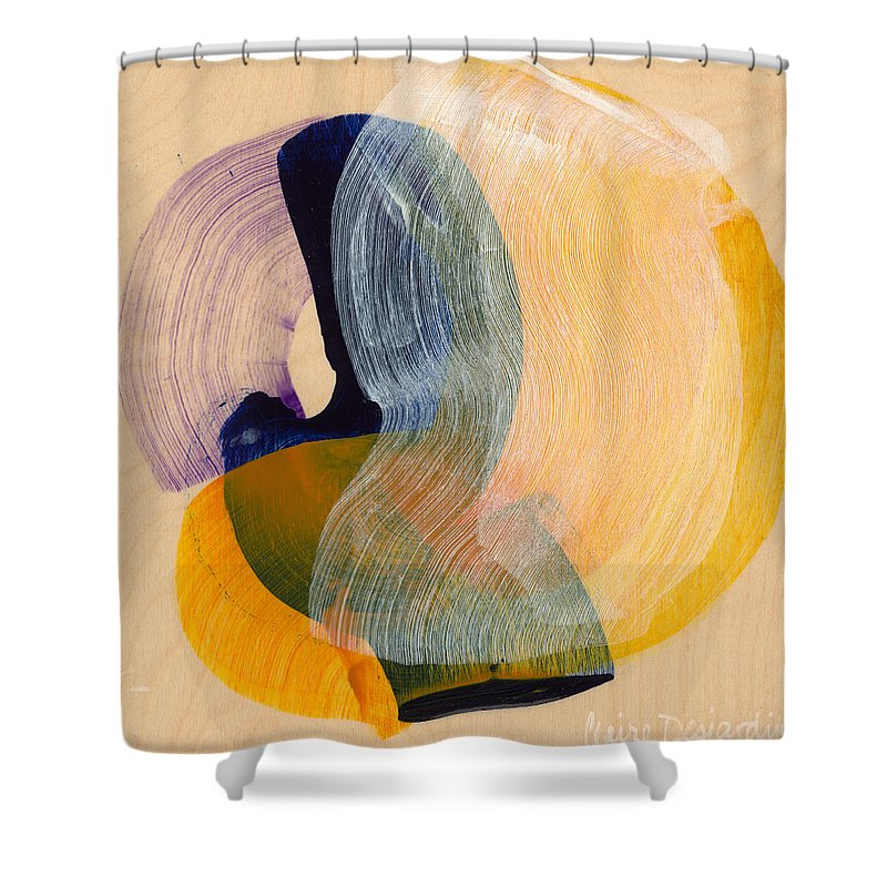 Abstract Shower Curtain featuring the painting Out Of The Blue 04 by Claire Desjardins
