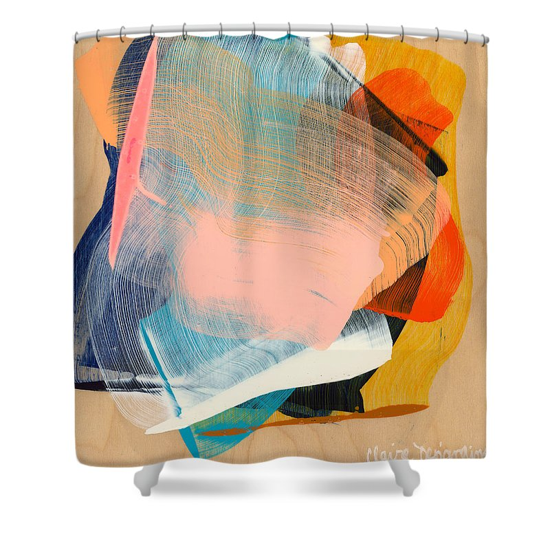 Abstract Shower Curtain featuring the painting Out Of The Blue 06 by Claire Desjardins