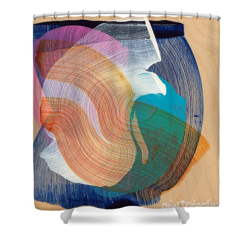 Abstract Shower Curtain featuring the painting Out Of The Blue 07 by Claire Desjardins
