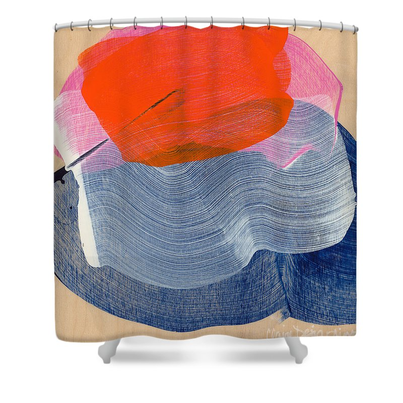 Abstract Shower Curtain featuring the painting Out Of The Blue 08 by Claire Desjardins