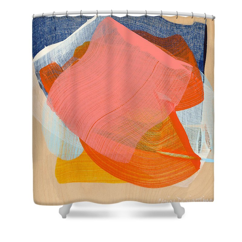 Abstract Shower Curtain featuring the painting Out Of The Blue 10 by Claire Desjardins