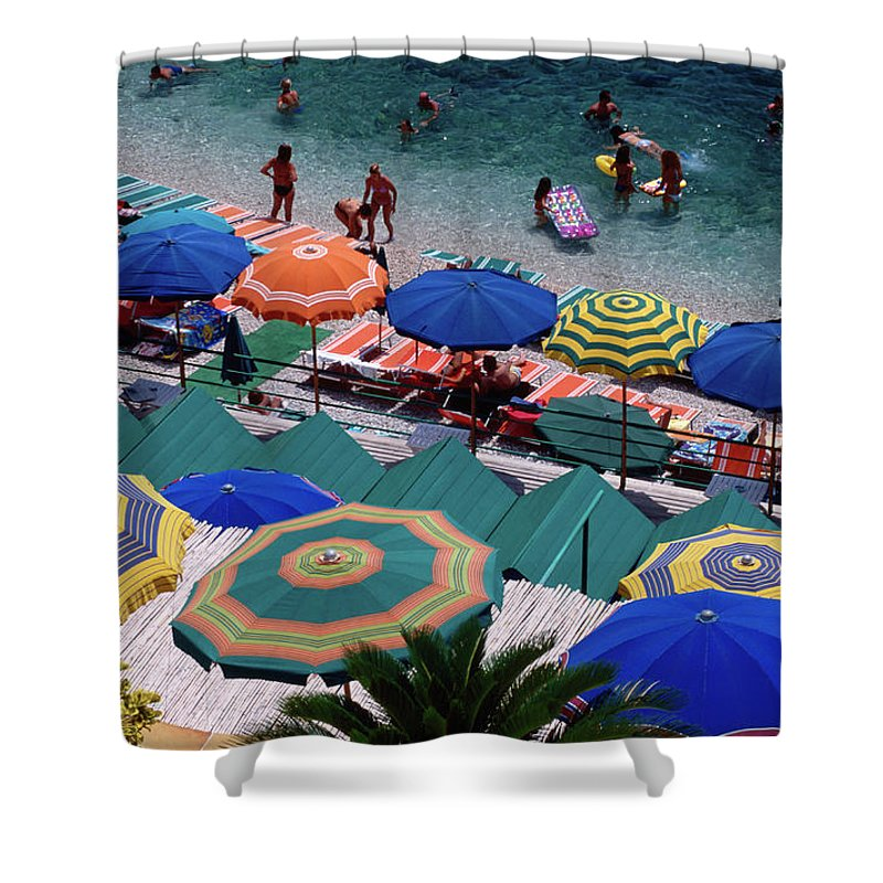 Shadow Shower Curtain featuring the photograph Overhead Of Umbrellas At Private by Dallas Stribley