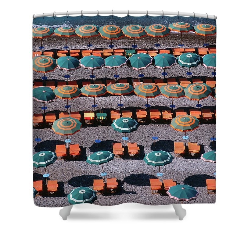Shadow Shower Curtain featuring the photograph Overhead Of Umbrellas, Deck Chairs On by Dallas Stribley