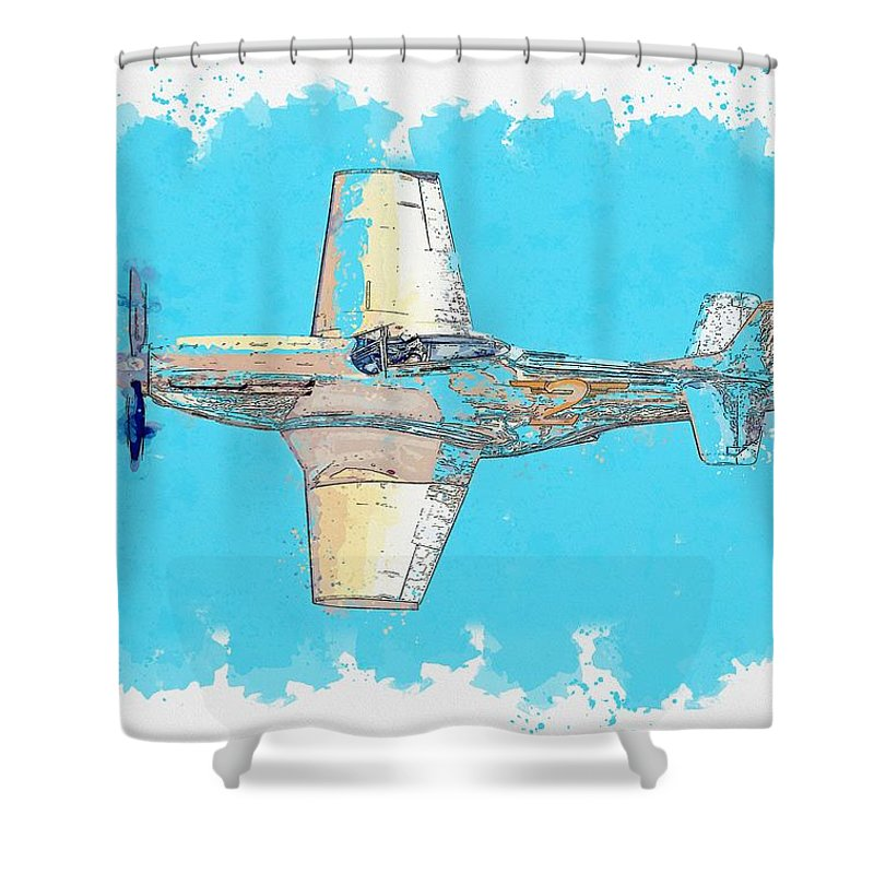 Jet Shower Curtain featuring the painting P-51d Goldfinger Watercolor By Ahmet Asar by Ahmet Asar