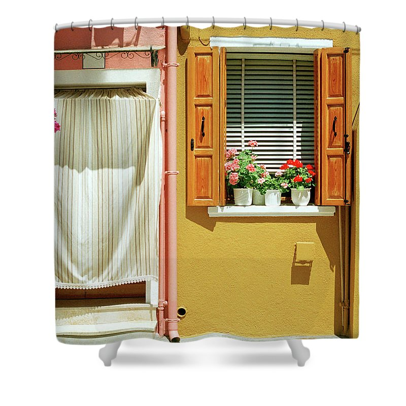 Hanging Shower Curtain featuring the photograph Painted House In Burano by Terraxplorer