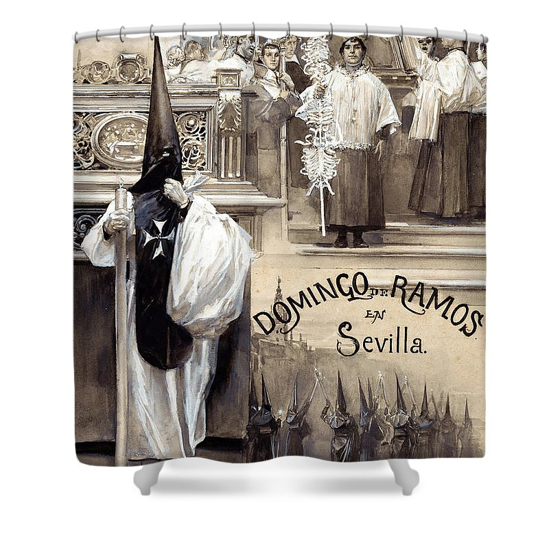 Jose Garcia Ramos Shower Curtain featuring the painting Palm Sunday In Seville by Jose Garcia Ramos