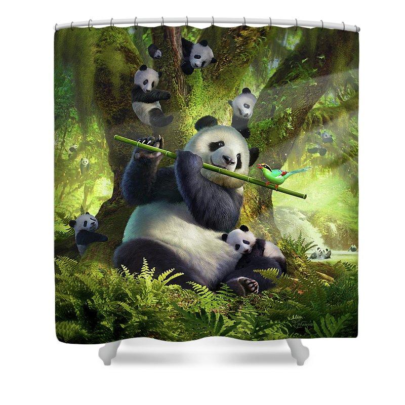 Panda Shower Curtain featuring the digital art Pan Da Bear by Jerry LoFaro