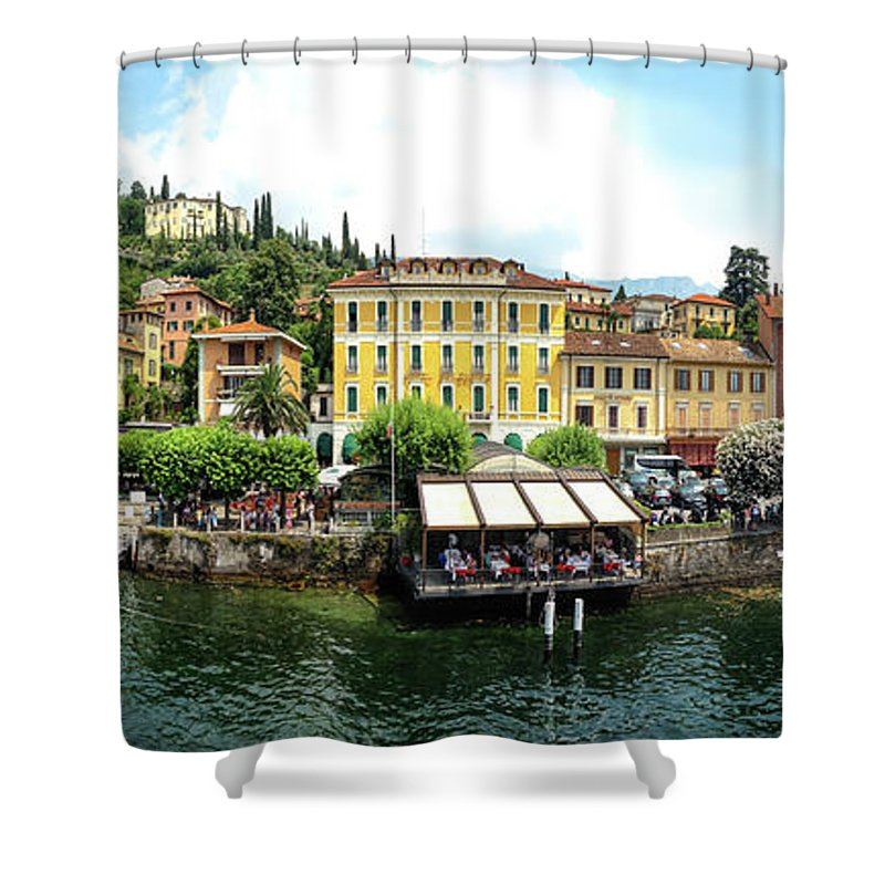 Tranquility Shower Curtain featuring the photograph Panorama Of Bellagio From Lake Como by Melinda Moore