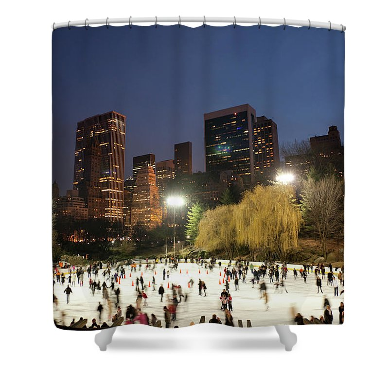 People Shower Curtain featuring the photograph Panorama Of People Ice Skating In by Studiokiet