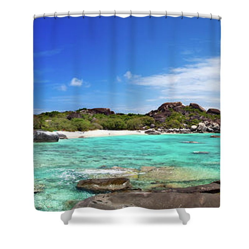 Scenics Shower Curtain featuring the photograph Panorama Of Spring Bay And The Baths by Cdwheatley