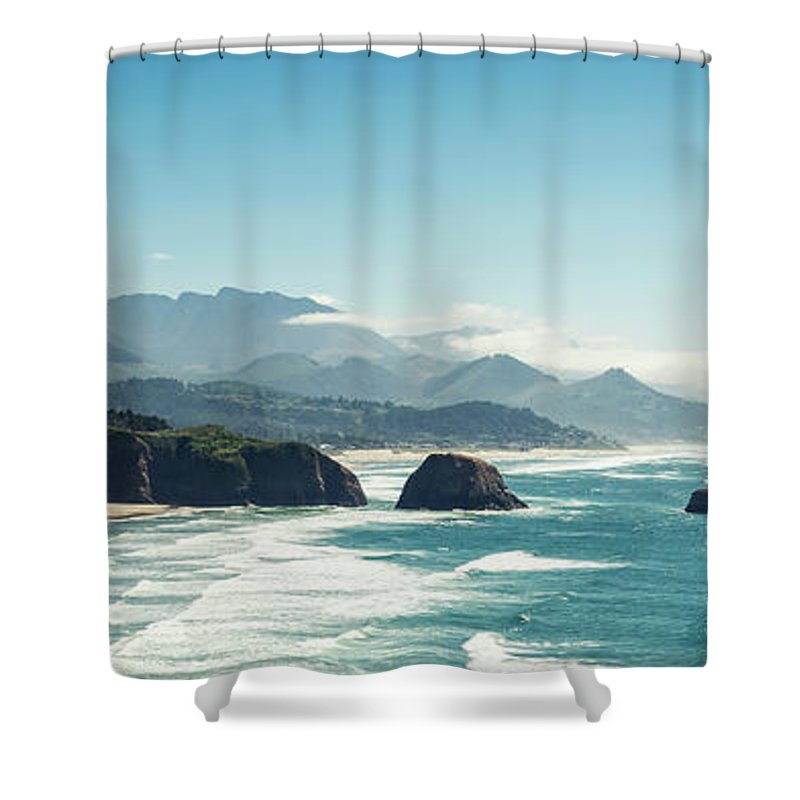 Scenics Shower Curtain featuring the photograph Panoramic Shot Of Cannon Beach, Oregon by Kativ
