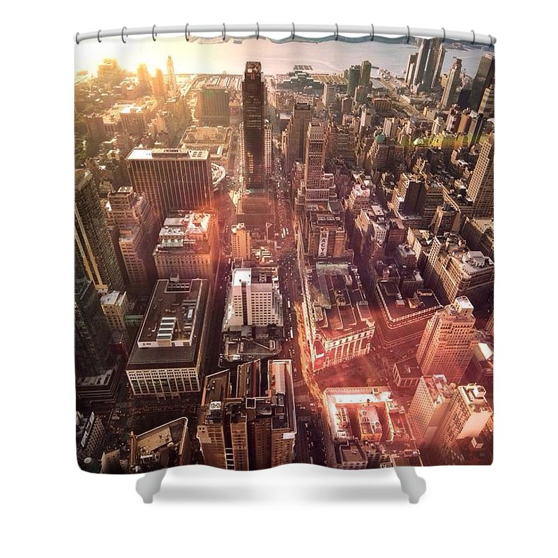 Trading Shower Curtain featuring the photograph Panoramic View Of A Modern City by Ana Aguiar / Eyeem