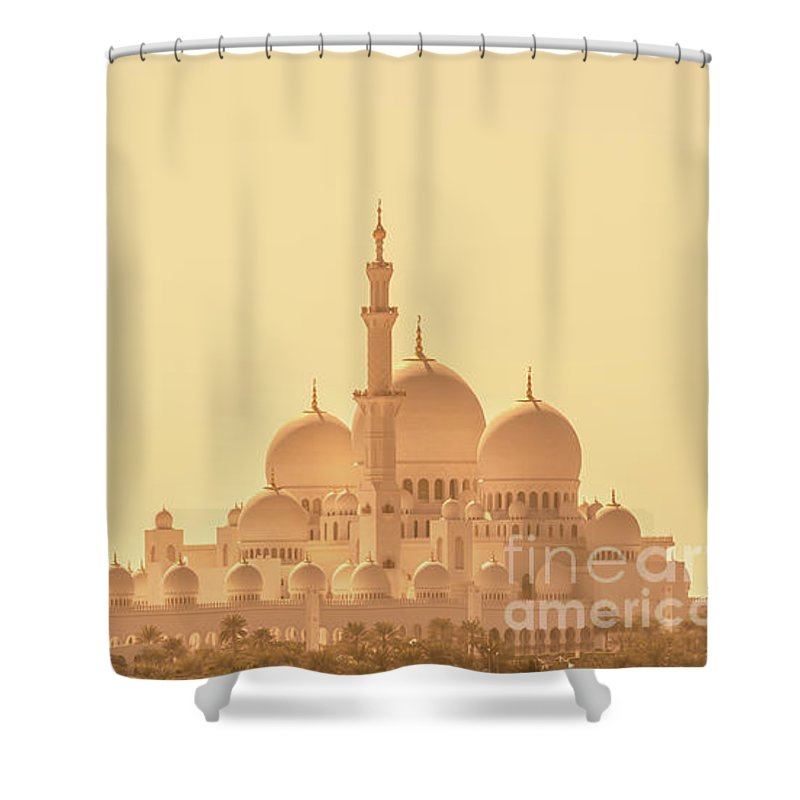 Abu Dhabi Shower Curtain featuring the photograph Panoramic View Of Abu Dhabi Grand Mosque by Delphimages Photo Creations
