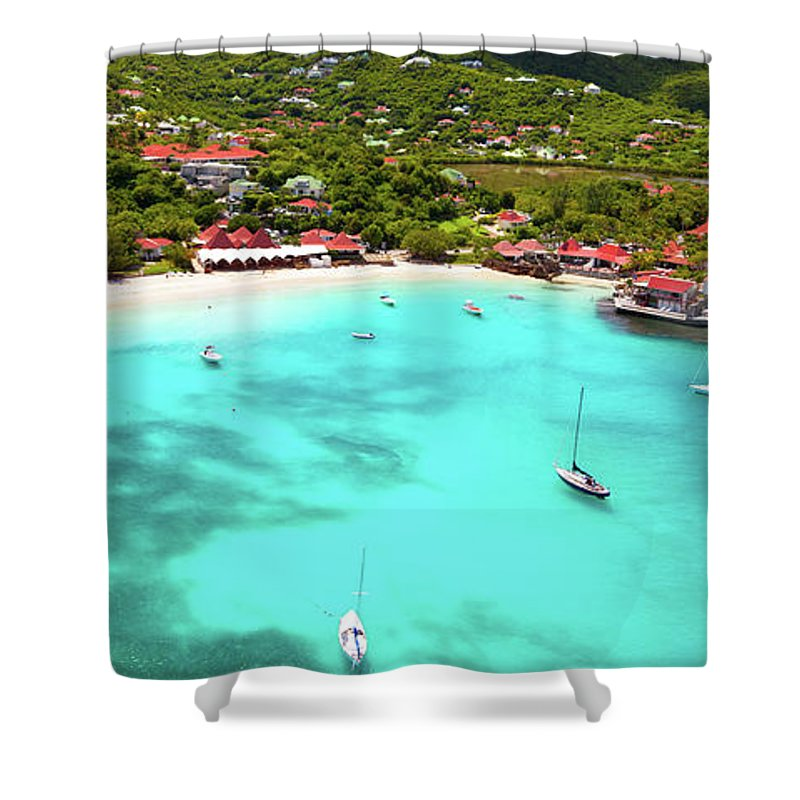 Water's Edge Shower Curtain featuring the photograph Panoramic View Of St.jean Bay In by Cdwheatley