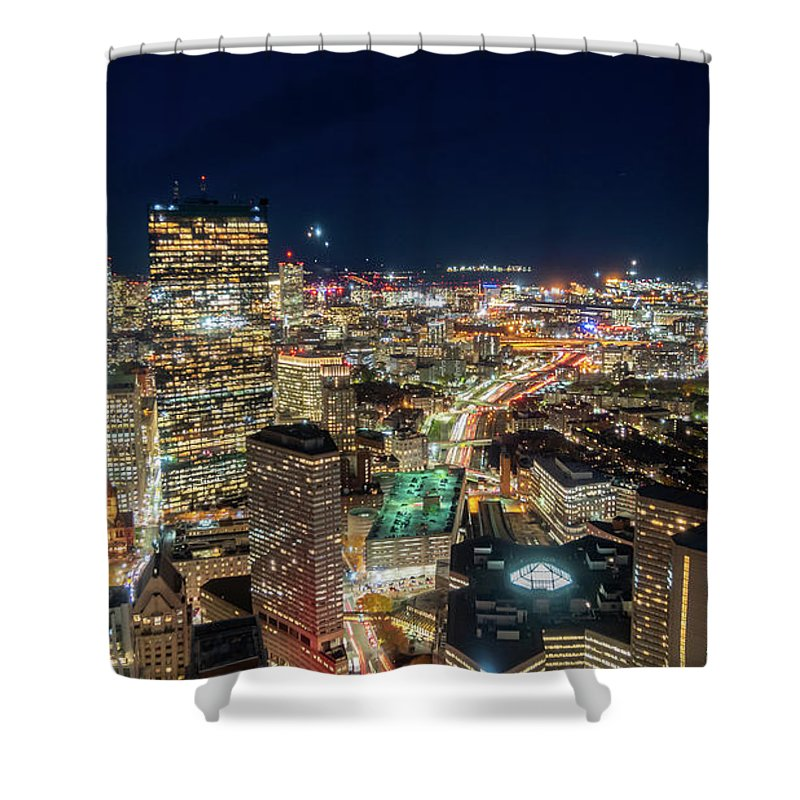 Boston Shower Curtain featuring the photograph Panoramic View Of The Boston Night Life by PorqueNo Studios