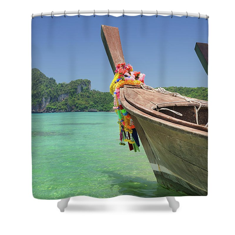 Tropical Rainforest Shower Curtain featuring the photograph Paradise Tropical Beach With Longtail by 4fr