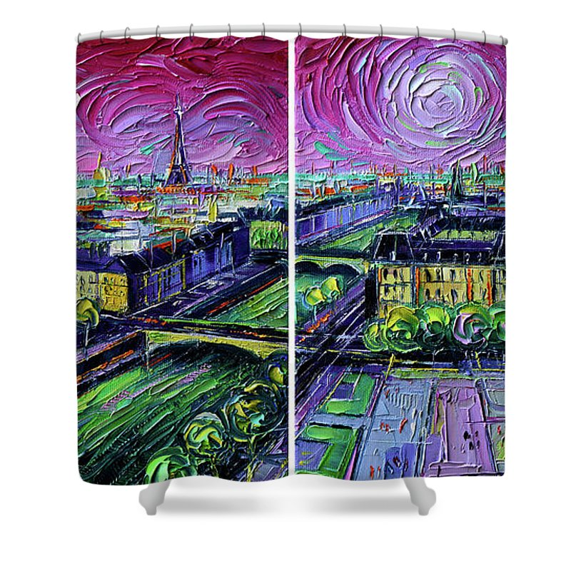 Paris Gargoyle Shower Curtain featuring the painting Paris View With Gargoyles - Textural Impressionist Diptych Oil Painting Mona Edulesco  by Mona Edulesco
