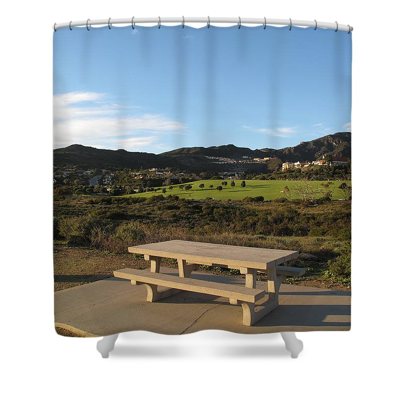 Tranquility Shower Curtain featuring the photograph Park Bench In Malibu by Marianna Sulic