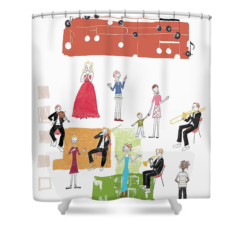 People Shower Curtain featuring the digital art Party Image by Daj