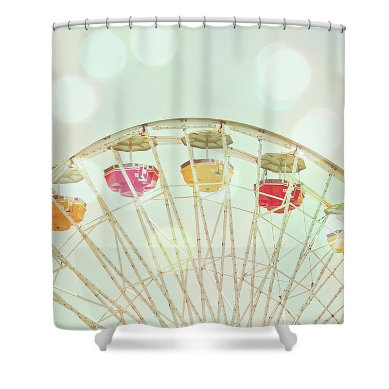 Hanging Shower Curtain featuring the photograph Pastel Ferris Wheel by Joyhey