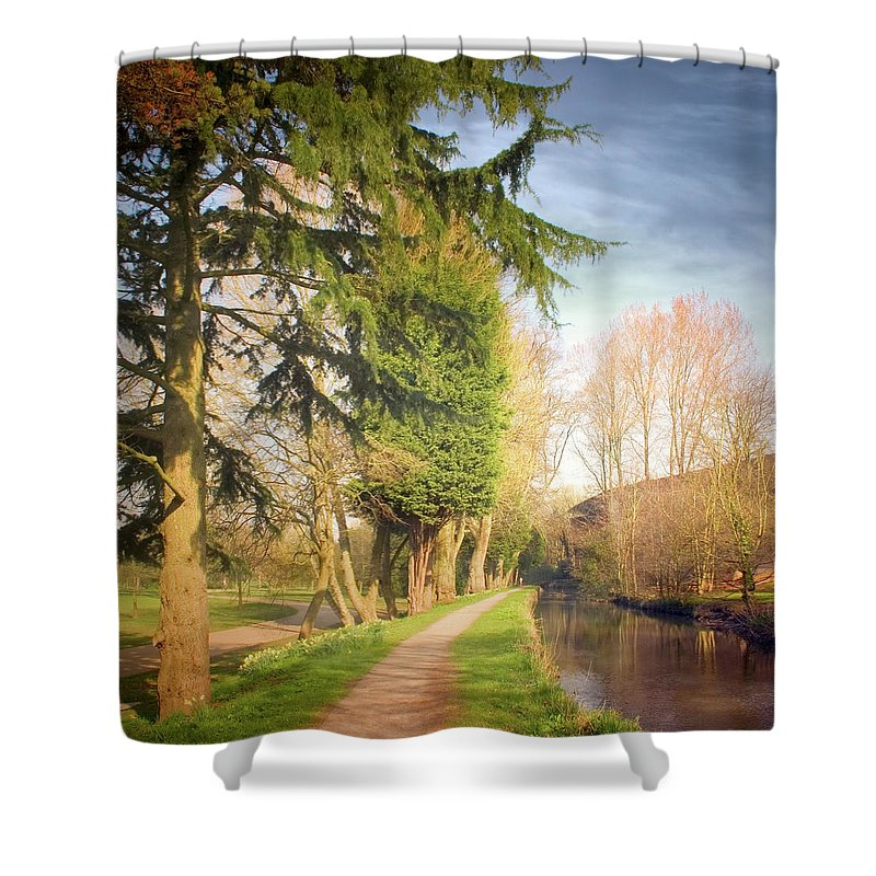 Tranquility Shower Curtain featuring the photograph Path Besides Canal In Bute Park by Christiana Stawski