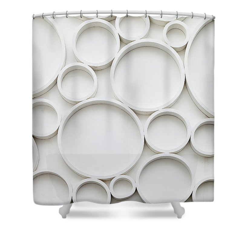 Roman Shower Curtain featuring the photograph Pattern Of Wall by Busakorn Pongparnit