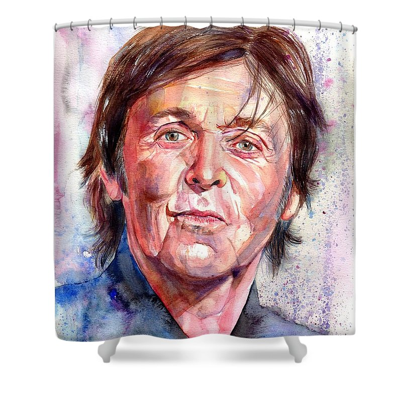 Paul Shower Curtain featuring the painting Paul McCartney Watercolor by Suzann Sines