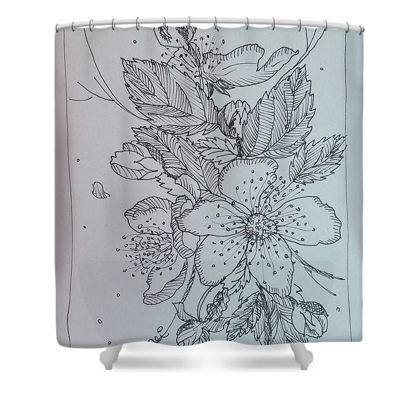 Shower Curtain featuring the drawing Peach Flowers by Paola Baroni