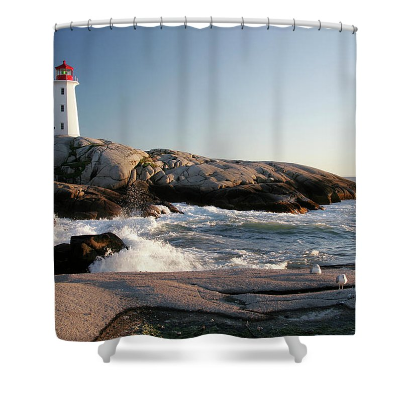 Water's Edge Shower Curtain featuring the photograph Peggys Cove Lighthouse & Waves by Cworthy