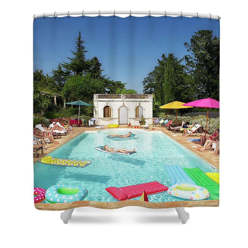 Young Men Shower Curtain featuring the photograph People Enjoying Summer Around The Pool by Ghislain & Marie David De Lossy
