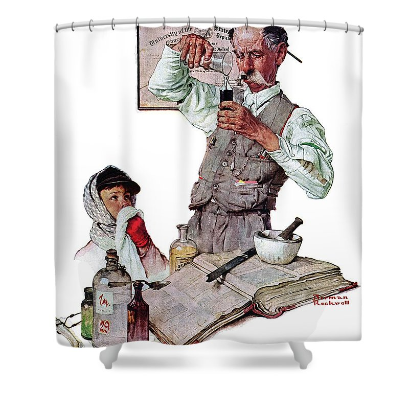Boy Shower Curtain featuring the drawing Pharmacist by Norman Rockwell