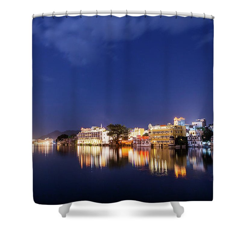 Tranquility Shower Curtain featuring the photograph Pichola Lake Night View by Greenlin