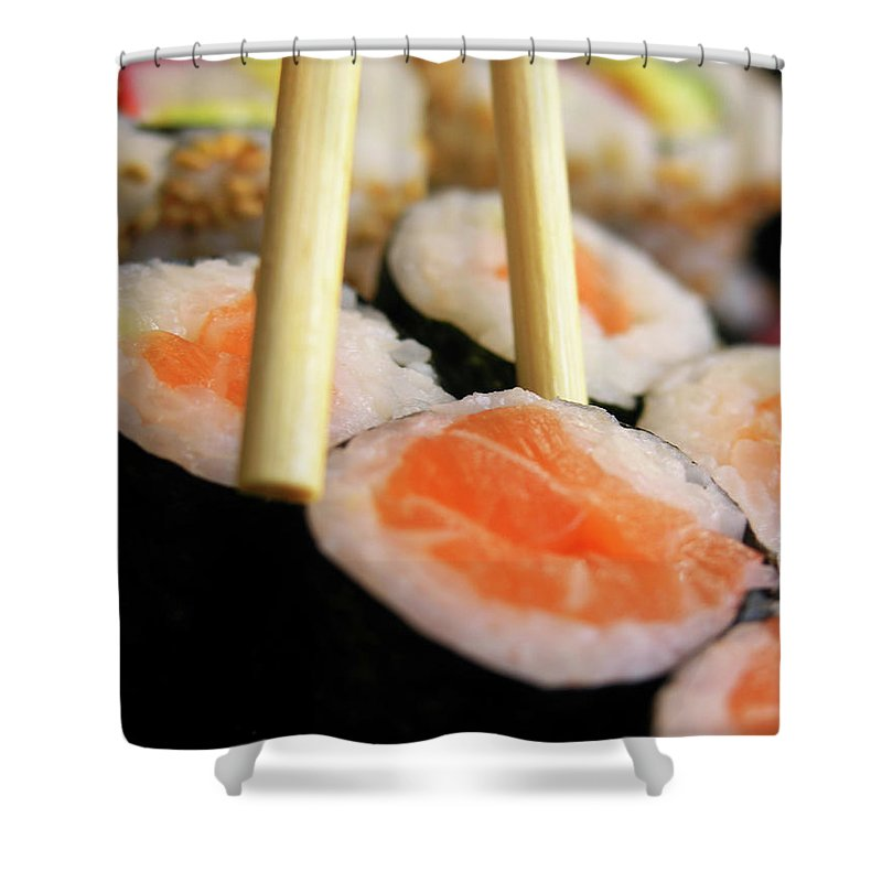 Japanese Food Shower Curtain featuring the photograph Picking Some Sushi by Caracterdesign
