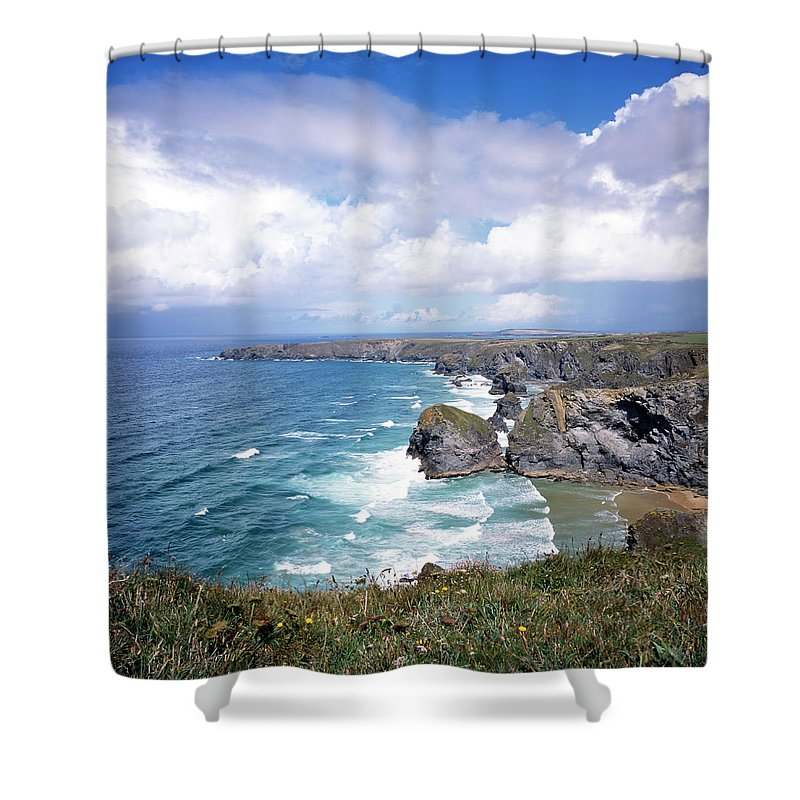 Water's Edge Shower Curtain featuring the photograph Picturesque Cornwall - Bedruthan by Chrisat