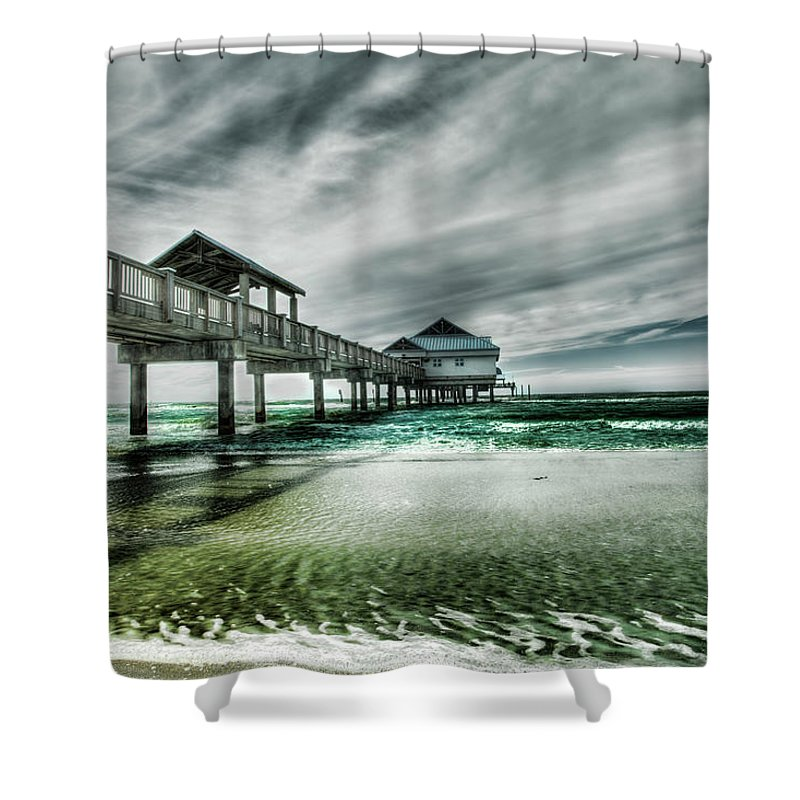 Water's Edge Shower Curtain featuring the photograph Pier by Chumbley Photography