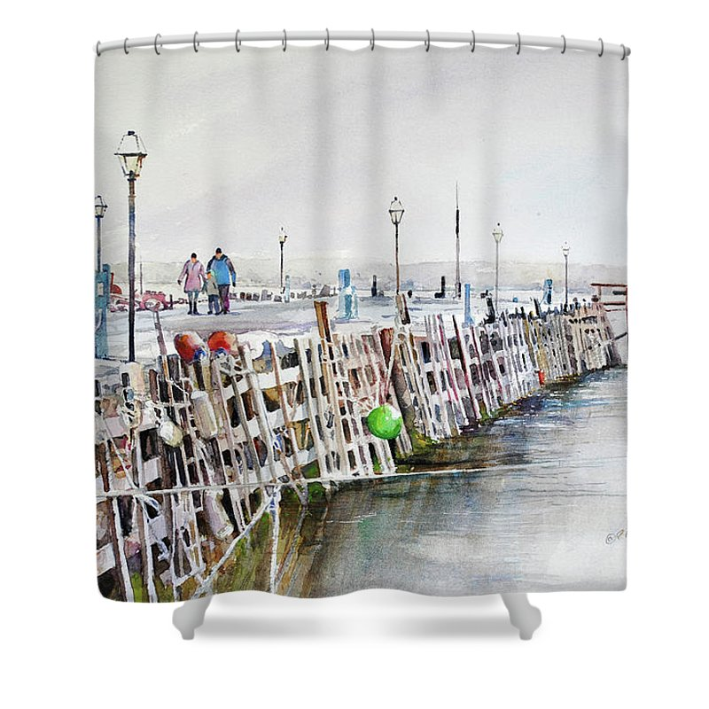 Visco Shower Curtain featuring the painting Piers To Be Cold by P Anthony Visco