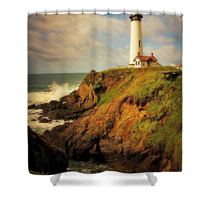 Pigeon Point Light House Shower Curtain featuring the photograph Pigeon Point Light Station, California by Zayne Diamond Photographic