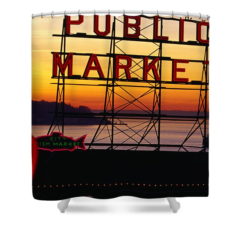 Ferry Shower Curtain featuring the photograph Pike Place Market Sign, Seattle by Lonely Planet
